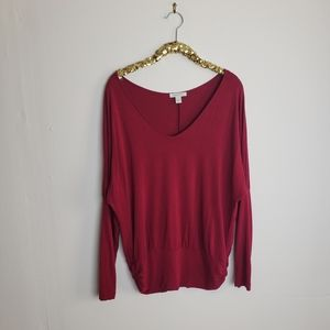 Boston Proper Reddish Pink Stretch Dolman Top